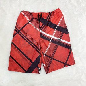 Boy's Joe Boxer Swim Trunks Red Black Sz L 10/12